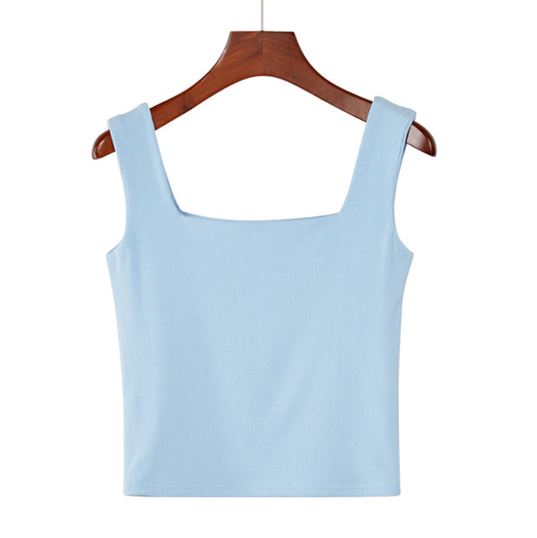 (Pre-Order) Basic Square Neck Sleeveless Cropped Top in Light Blue