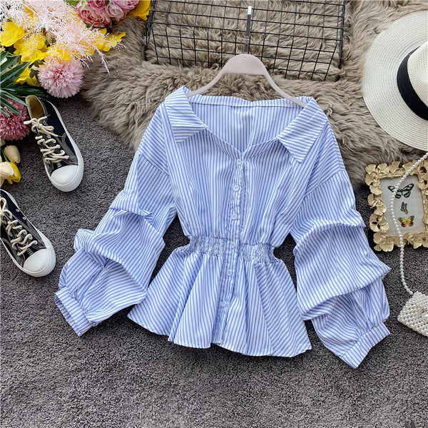 (Pre-Order) Stripes Collared Long Balloon Sleeve Top in Light Blue