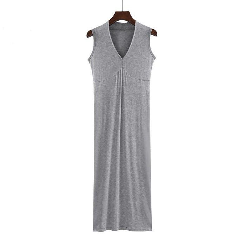 (Pre-Order) Basic Sleeveless V Neck Midi Dress in Light Grey