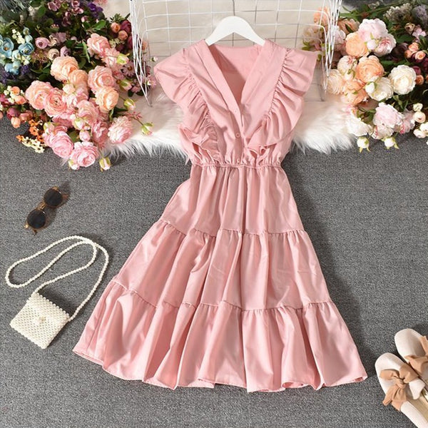 (Pre-Order) V Neck Button-Up Ruffles Sleeve Gypsy Midi Dress in Pink