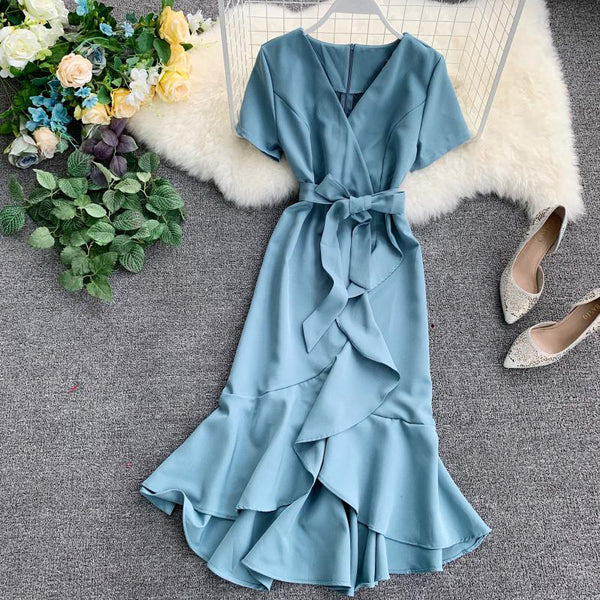 (Pre-Order) V Neck Sleeve Ribbon Asymmetrical Ruffles Midi Dress in Light Blue