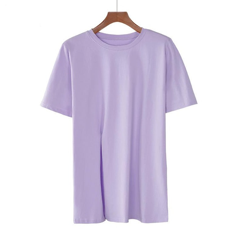 Round Neck Side Slit Mid Length Top in Lilac