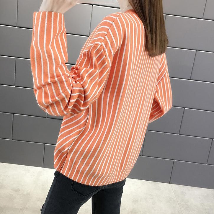 (Pre-Order) Asymmetrical Pinstripes Long Sleeve Top in Mandarin