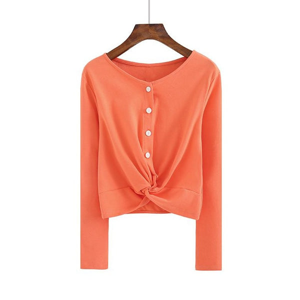 (Pre-Order) Button Up Loop Long Sleeve Cropped Top in Mandarin