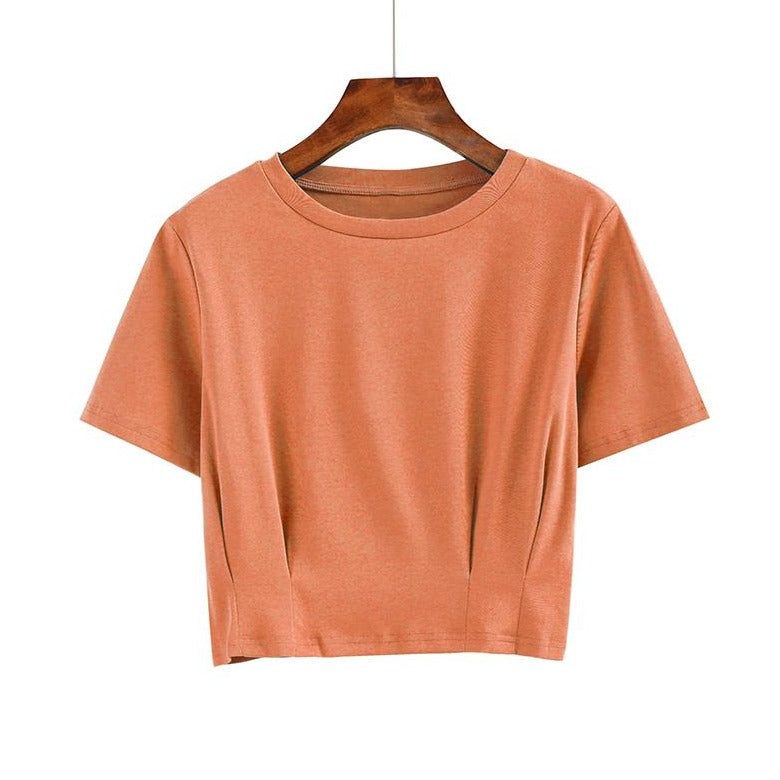 (Pre-Order) Sleeve Round Neck Cropped Top in Mandarin