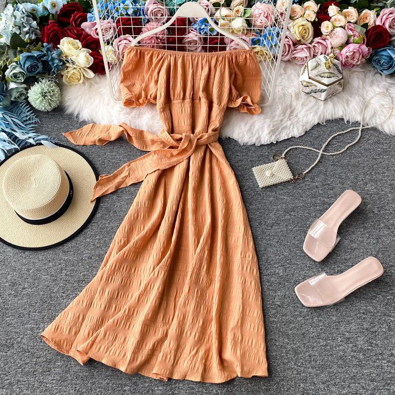 (Pre-Order) Off-Shoulder Ribbon Tie Balloon Sleeve Midi Dress in Mandarin