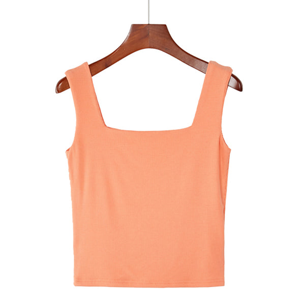 (Pre-Order) Basic Square Neck Sleeveless Cropped Top in Mandarin