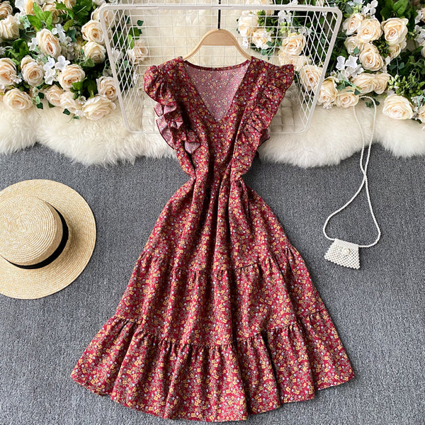 (Pre-Order) Floral V Neck Ruffles Sleeve Gypsy Midi Dress in Maroon