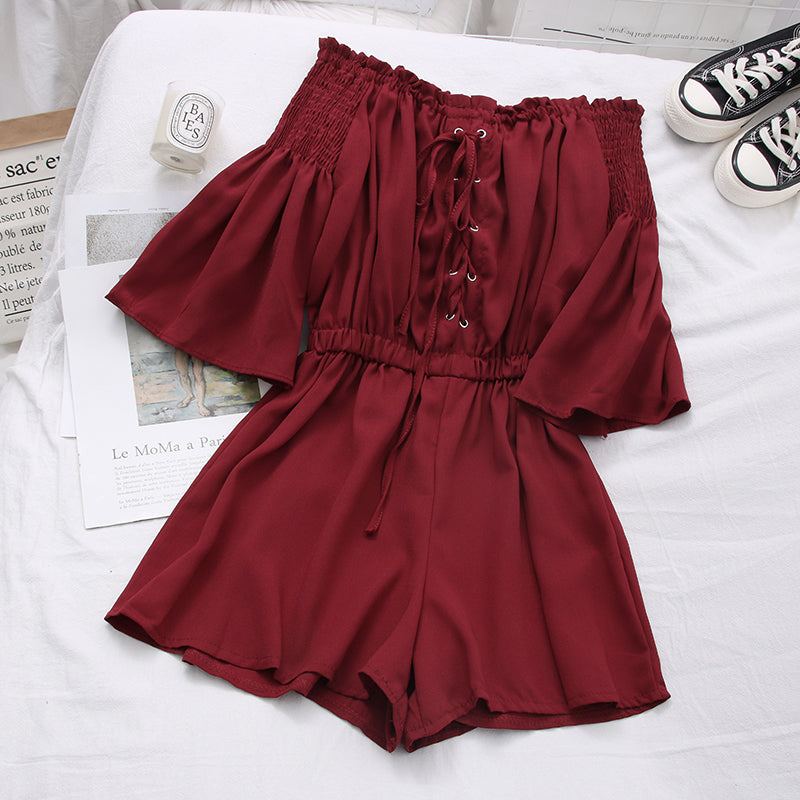 (Pre-Order) Off-Shoulder Lace Up Trumpet Sleeve Wide Leg Romper in Maroon