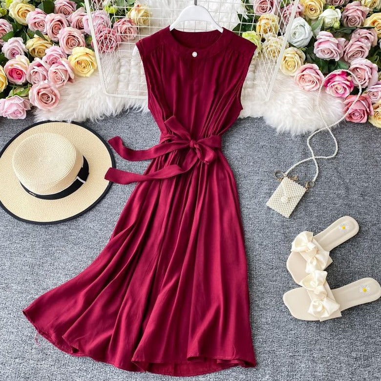 (Pre-Order) Sleeveless Round Neck Cut-Out Maxi Dress in Maroon