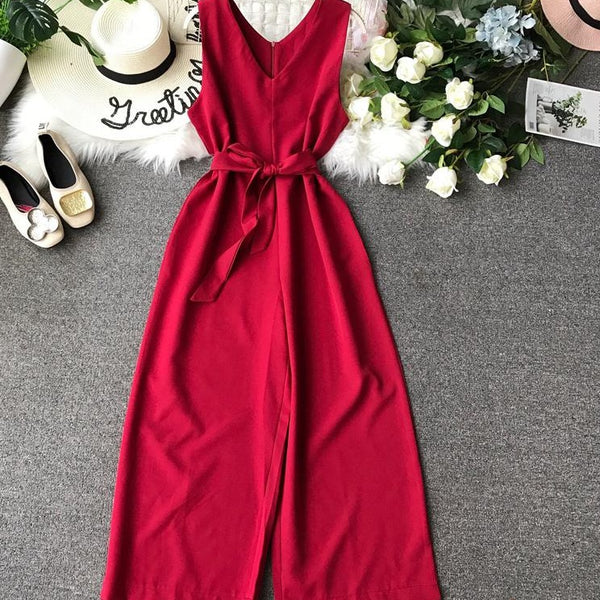 (Pre-Order) High Waist Wide Leg Sleeveless V Neck Culottes Jumpsuit in Maroon