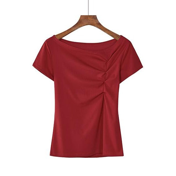 (Pre-Order) 2 Way Wear Asymmetrical Wide Neck / Toga Top in Maroon