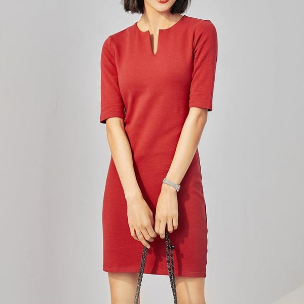 (Pre-Order) V Neck Quarter Sleeve Tee Dress in Maroon