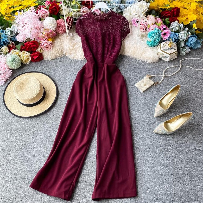 (Pre-Order) Lace Round Neck High Waist Jumpsuit in Maroon