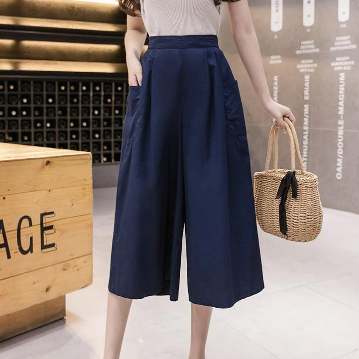 (Pre-Order) High Waist Large Side Pockets Wide Leg Loose Fit Cropped Pants in Navy Blue