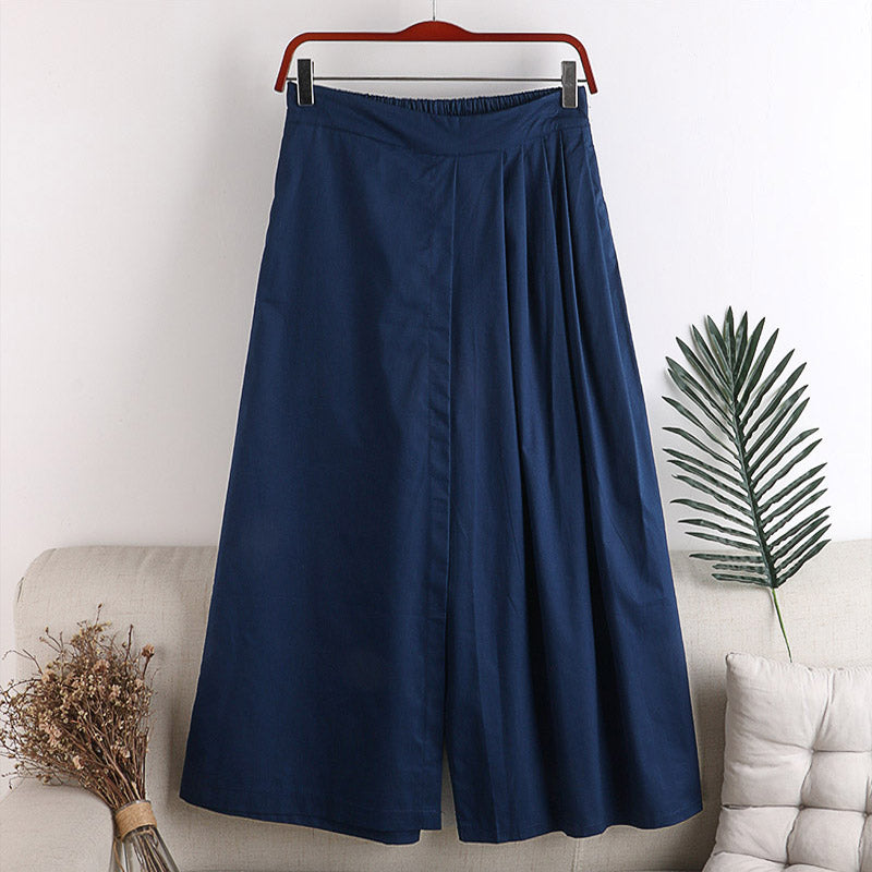(Pre-Order) Half Pleats High Waist Loose Fit Wide-Leg Culottes in Navy Blue