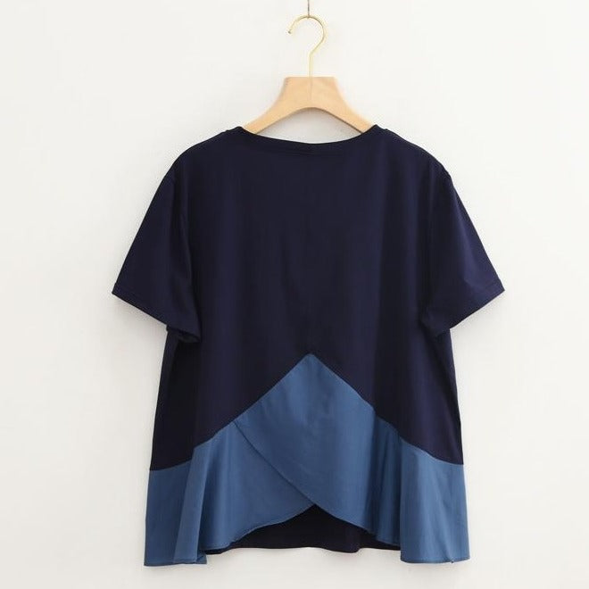 (Pre-Order) Round Neck Ruffles Asymmetrical Patched Loose Fit Top in Navy Blue