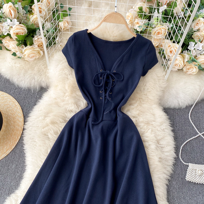 (Pre-Order) V Neck Short Sleeve Skater Dress in Navy Blue