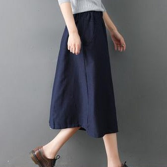 (Pre-Order) Button Up Side Pockets High Waist Loose Fit Midi Skirt In Navy Blue