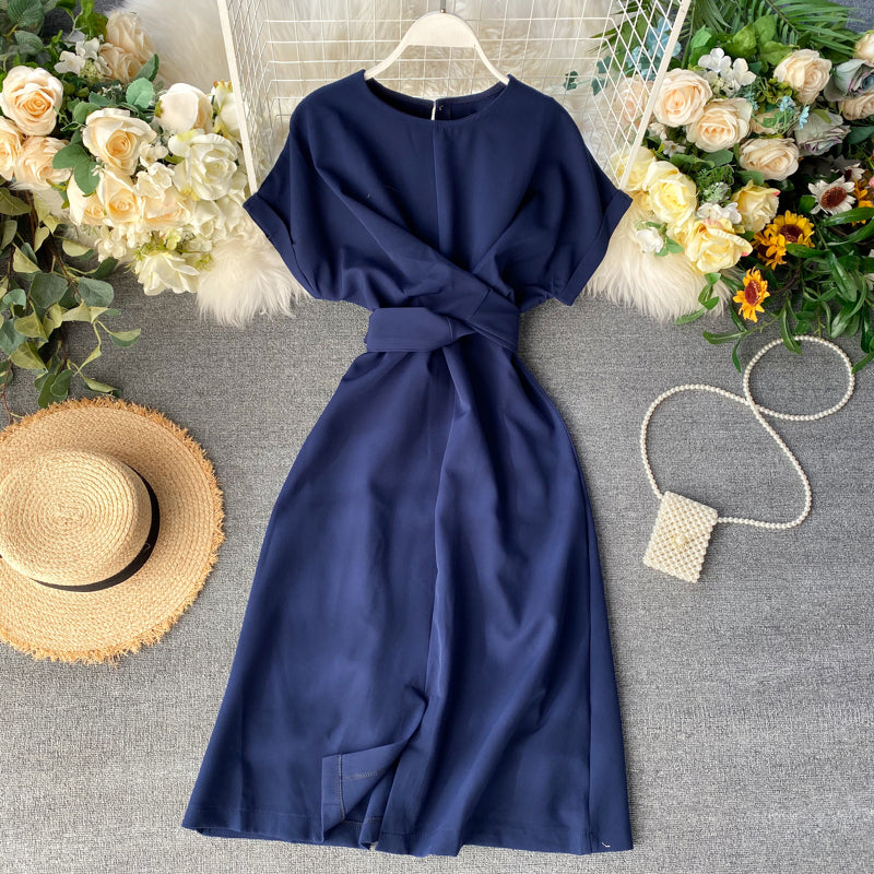 (Pre-Order) Bat Wing Front Slit Midi Dress in Navy Blue