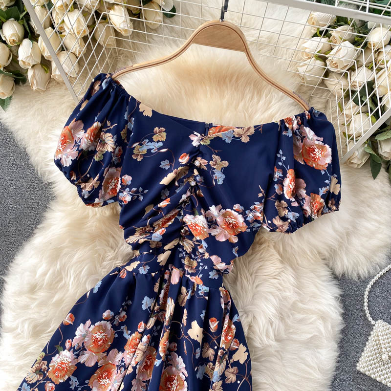 (Pre-Order) Floral Off-Shoulder Gathered Balloon Sleeve Midi Dress in Navy Blue