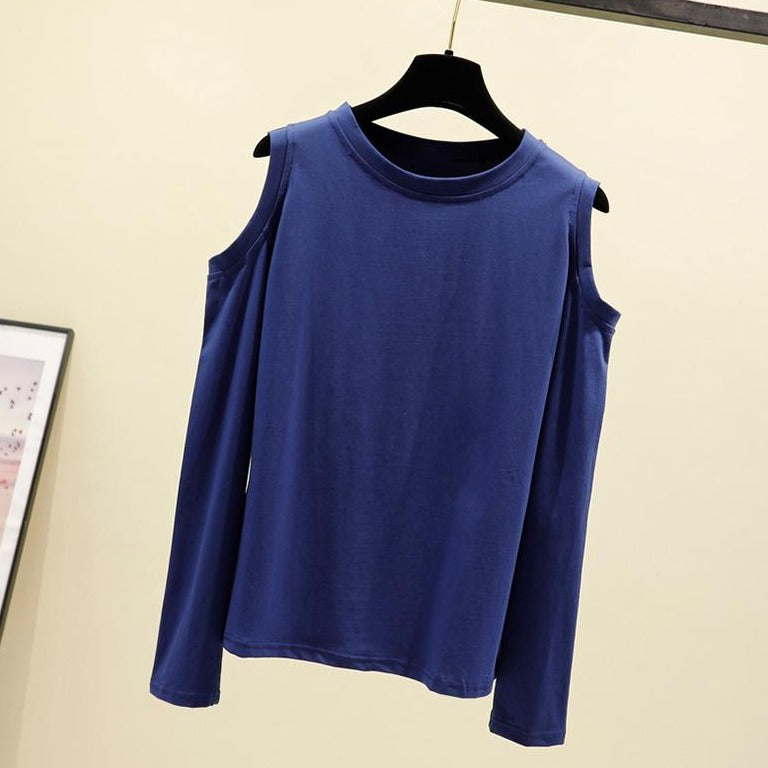 (Pre-Order) Basic Cold Shoulder Long Sleeve Top in Navy Blue