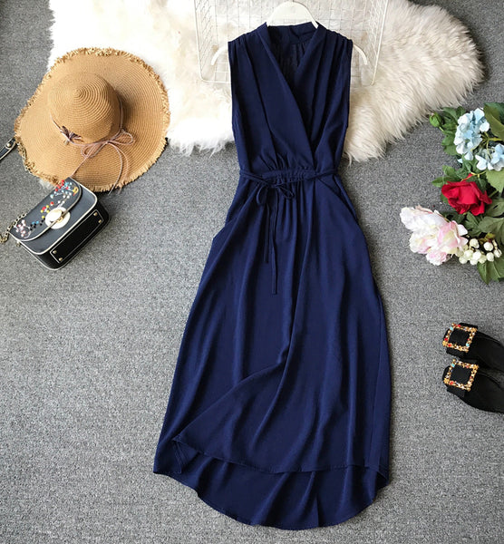 (Pre-Order) Overlap Waist Tie Maxi Dress in Navy Blue