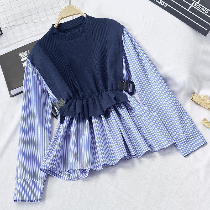 (Pre-Order) Contrast Mock 2 Piece Long Sleeve Stripes Ruffles Top in Navy Blue