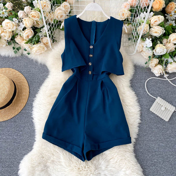 (Pre-Order) Sleeveless V Neck High Waist Wide Leg Romper in Navy Blue