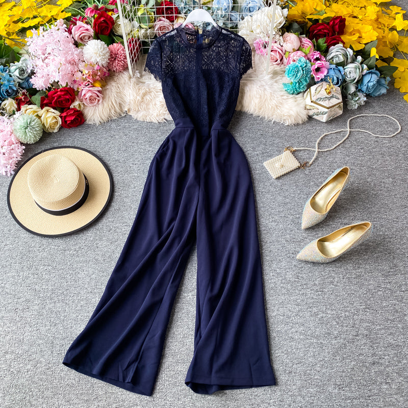 (Pre-Order) Lace Round Neck High Waist Jumpsuit in Navy Blue