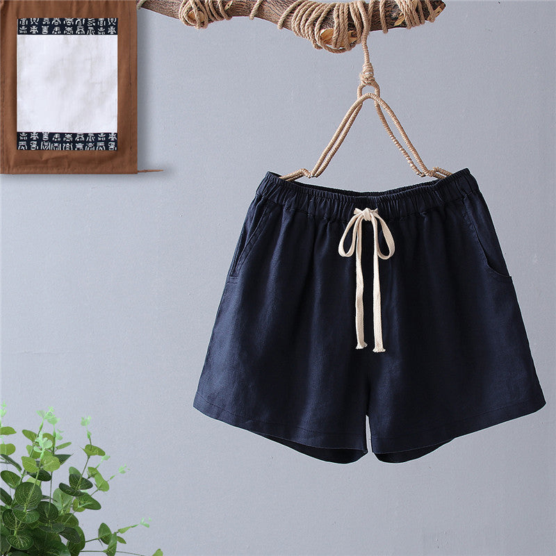 (Pre-Order) Casual Drawstring High Waist Wide Leg Shorts in Navy Blue