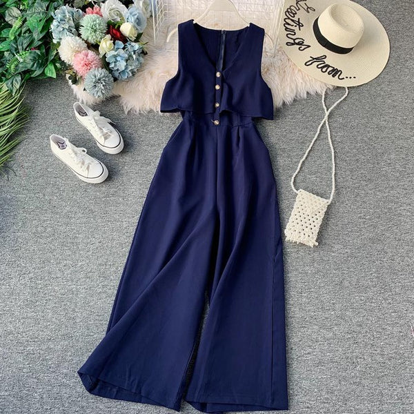 (Pre-Order) Sleeveless V Neck High Waist Wide Leg Jumpsuit in Navy Blue