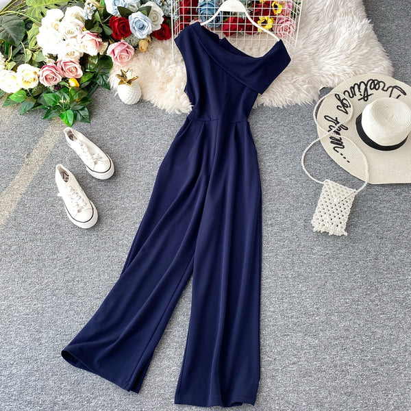(Pre-Order) Asymmetrical Neck Wide Leg Culottes in Navy Blue
