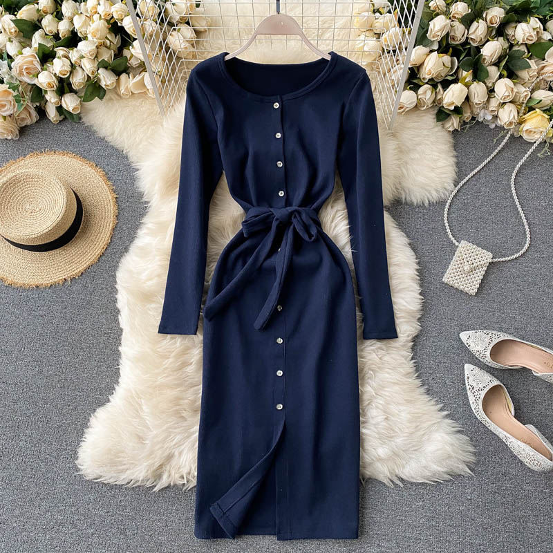 (Pre Order) Button Up Ribbon Tie Long Sleeve Midi Dress in Navy Blue