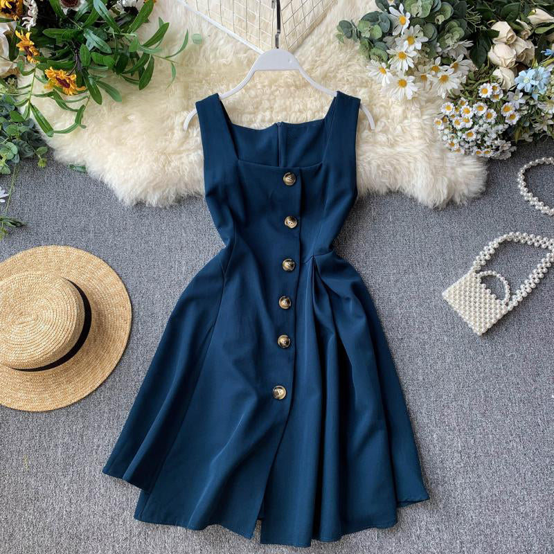 (Pre-Order) Square Neck Button Up Sleeveless Dress in Navy Blue