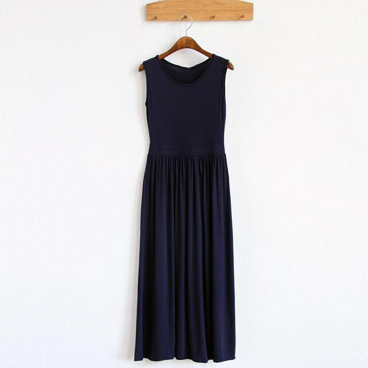(Pre-Order) Basic Sleeveless Ruffles Pleated Maxi Dress in Navy Blue
