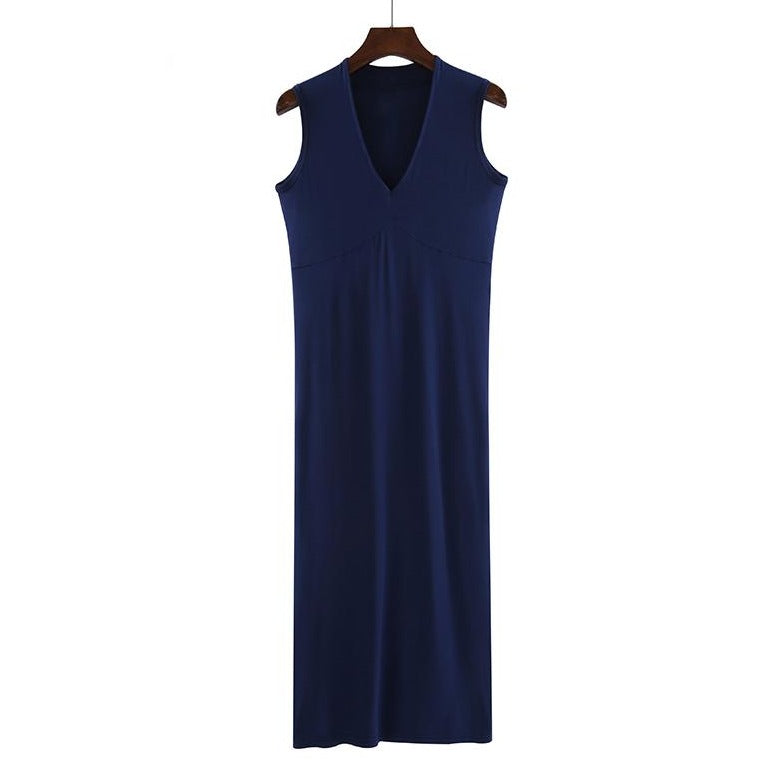 (Pre-Order) Basic Sleeveless V Neck Midi Dress in Navy Blue