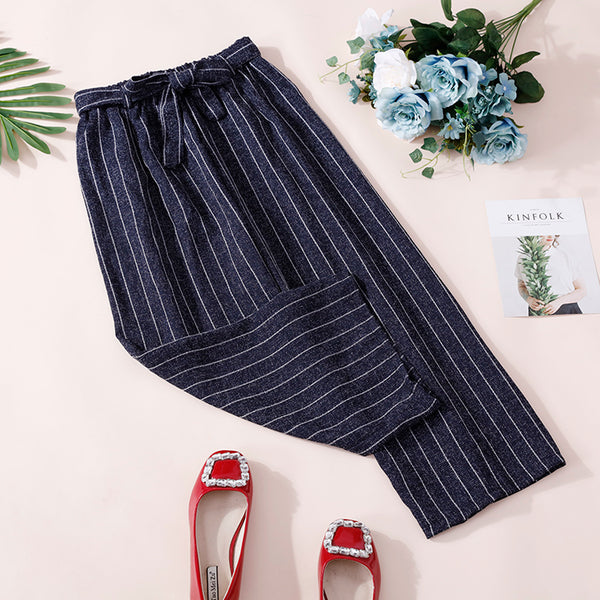 (Pre-Order) Ribbon Stripes Culottes In Navy Blue