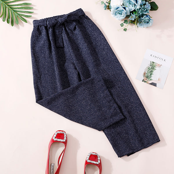 (Pre-Order) Ribbon Basic Culottes In Navy Blue
