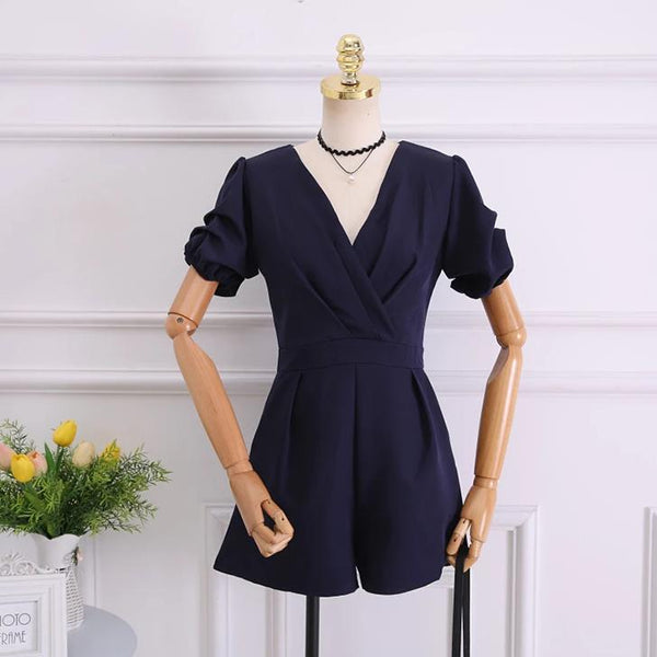 (Pre-Order) Balloon Sleeves V Neck Romper In Navy Blue