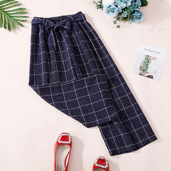 (Pre-Order) Ribbon Grid Culottes In Navy Blue