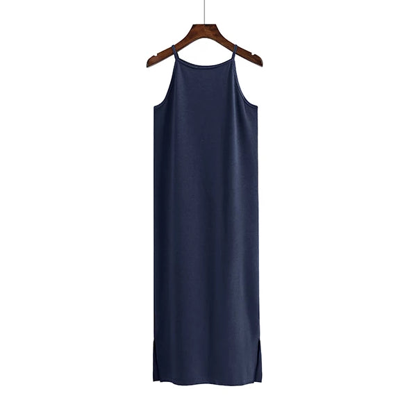 (Pre Order) Basic Spag Side Slit Midi Dress in Navy Blue