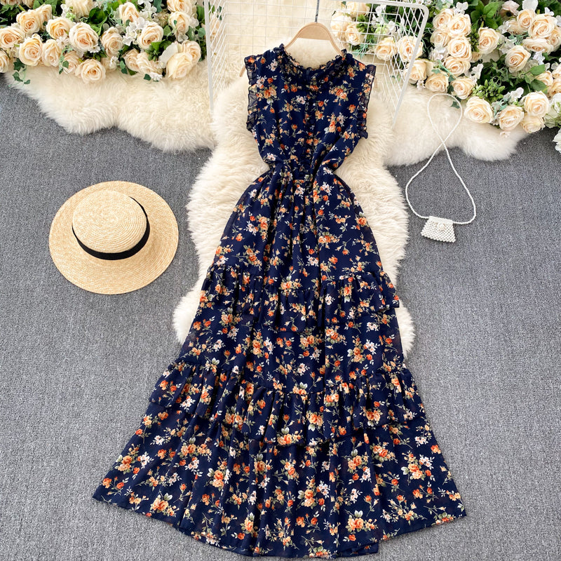 (Pre-Order) Floral Sleeveless Round Neck Layered Maxi Dress in Navy Blue