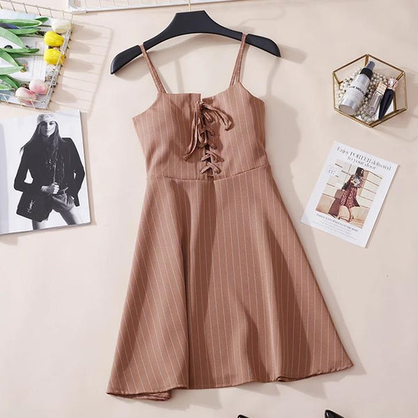 (Pre-Order) Pinstripes Spag High Waist Dress in Khaki