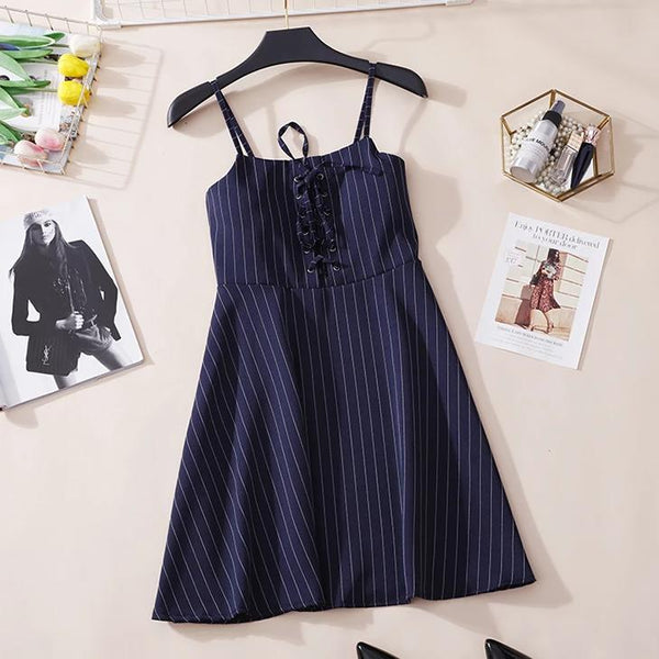 (Pre-Order) Pinstripes Spag High Waist Dress in Navy Blue