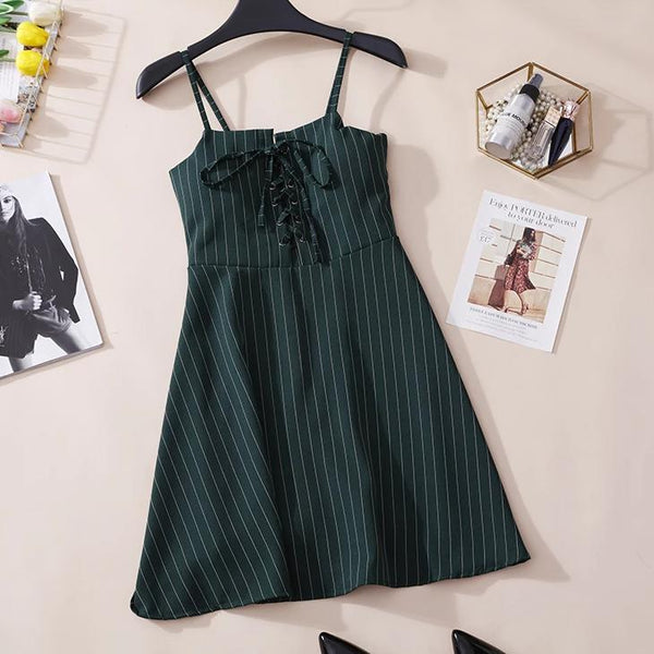 (Pre-Order) Pinstripes Spag High Waist Dress in Dark Green