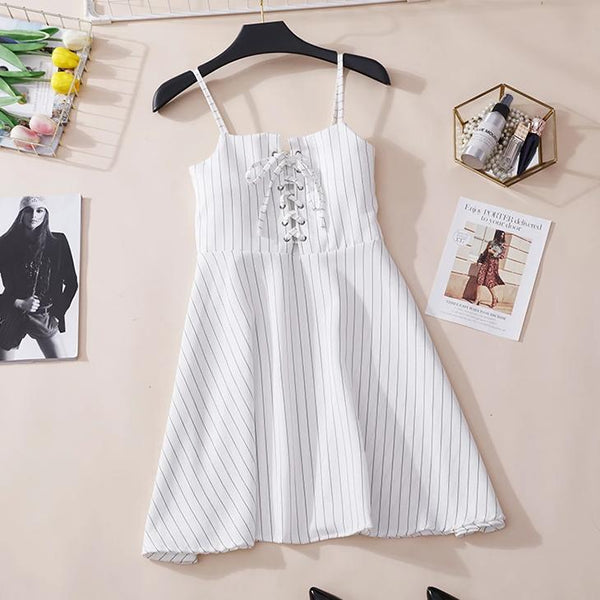 (Pre-Order) Pinstripes Spag High Waist Dress in White