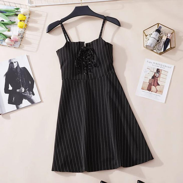 (Pre-Order) Pinstripes Spag High Waist Dress in Black
