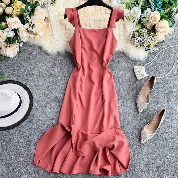 (Pre-Order) Ruffles Square Collar Sleeveless Maxi Dress in Pink-Red