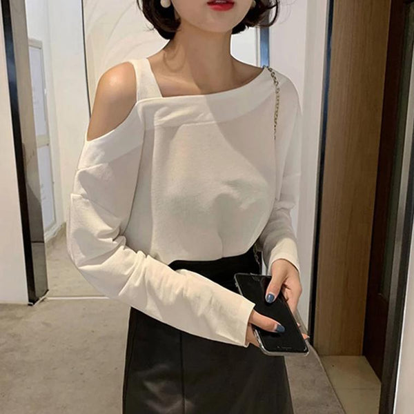 (Pre-Order) Single Cold Shoulder Long Sleeve Top in White